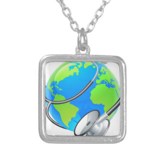 Conceito do globo da terra do dia de saúde de colar banhado a prata