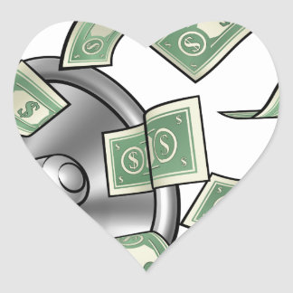 Conceito do megafone do dinheiro dos desenhos adesivo coração