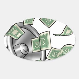 Conceito do megafone do dinheiro dos desenhos adesivo oval