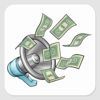 Conceito do megafone do dinheiro dos desenhos adesivo quadrado