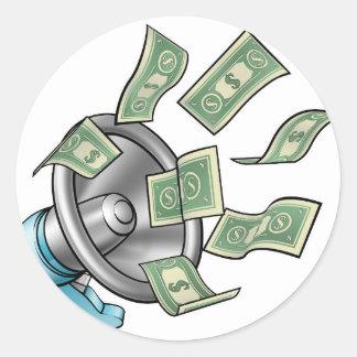Conceito do megafone do dinheiro dos desenhos adesivo redondo