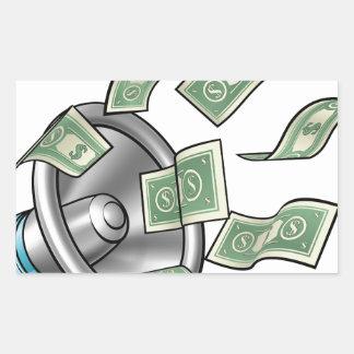 Conceito do megafone do dinheiro dos desenhos adesivo retangular