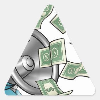 Conceito do megafone do dinheiro dos desenhos adesivo triangular