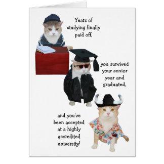 Conclusão do ensino secundário engraçada cartão comemorativo