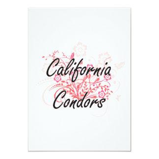 Condors de Califórnia com fundo das flores Convite 12.7 X 17.78cm