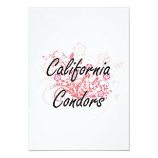 Condors de Califórnia com fundo das flores Convite 8.89 X 12.7cm