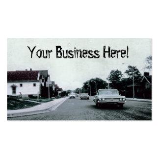 Condução de carro vintage no cartão de visita da