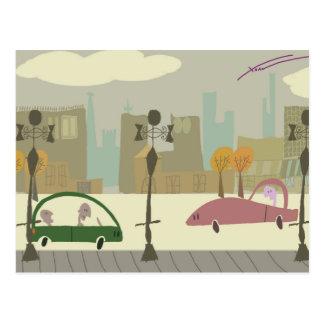 Condução na cidade cartão postal