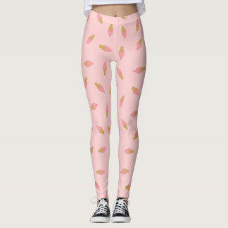 Cone cor-de-rosa bonito do sorvete da morango leggings