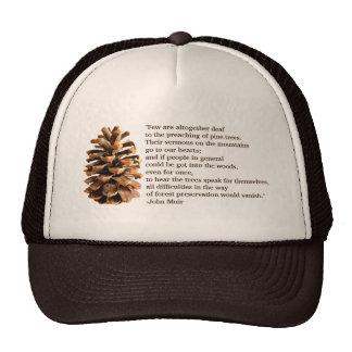 Cone do pinho e citações de John Muir Boné