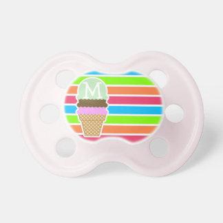 Cone do sorvete; Arco-íris de néon retro Chupeta De Bebê