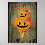Cone do sorvete da abóbora do Dia das Bruxas Poster