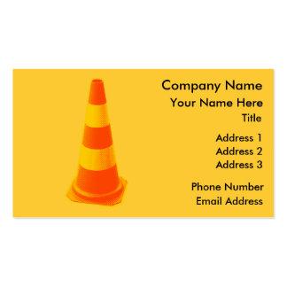 Cone do tráfego com listras amarelas modelos cartão de visita