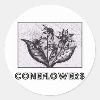 Coneflowers Adesivo Em Formato Redondo