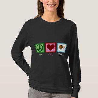 Confecção de malhas do amor da paz camiseta