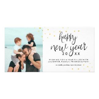 Confetes chiques festivos do ouro da foto do feliz cartão