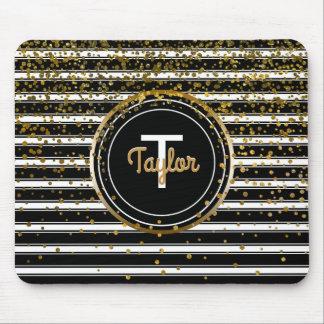 Confetes chiques preto e branco do encanto do ouro mousepad