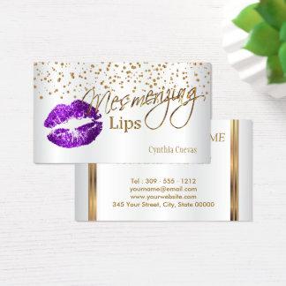 Confetes de fascinação do ouro dos lábios & lábios cartão de visitas