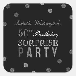 Confetes de prata & festa de aniversário preta da adesivo quadrado