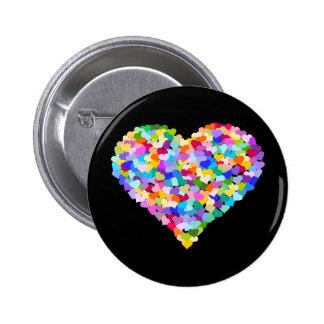 Confetes do coração do arco-íris bóton redondo 5.08cm