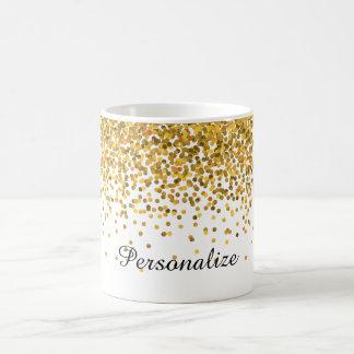 Confetes do ouro caneca de café