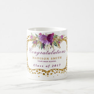Confetes do ouro da flor do brilho da aguarela da caneca de café