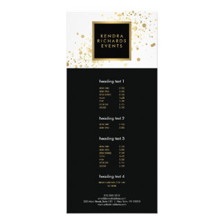 Confetes do ouro do falso no cartão branco moderno 10.16 x 22.86cm panfleto