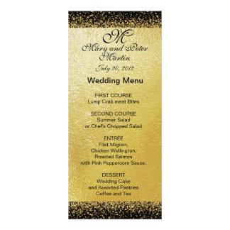 Confetes do ouro no cartão Preto do menu do