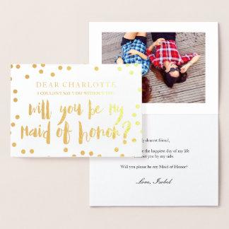 Confetes do ouro você será minha foto da madrinha cartão metalizado