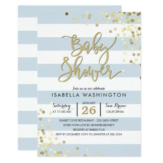 Confetes elegantes do ouro do chá de fraldas | & convite 12.7 x 17.78cm