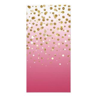 Confetes femininos modernos bonito do brilho do cartão com foto