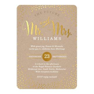 Confetes kraft do ouro do CASAMENTO À MODA MODERNO Convite 12.7 X 17.78cm