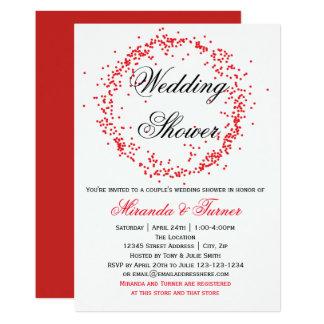Confetes vermelhos - convite do chá de casamento