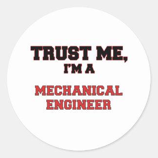 Confie que eu mim é meu engenheiro mecânico adesivos em formato redondos
