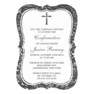 Confirmação de prata do comunhão santamente da convite 12.7 x 17.78cm