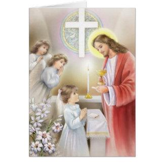 Confirmação do comunhão para meninas cartão comemorativo