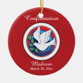 Confirmação, pomba colorida, ornamento redondo
