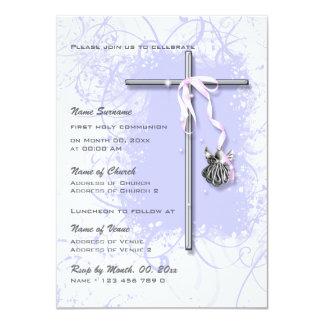 Confirmação religiosa do comunhão do baptismo roxo convite 11.30 x 15.87cm