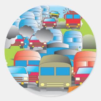 congestionamento rua cheia de carros desenho color adesivo