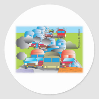congestionamento rua cheia de carros desenho color adesivos