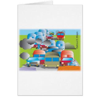 congestionamento rua cheia de carros desenho color cartão comemorativo