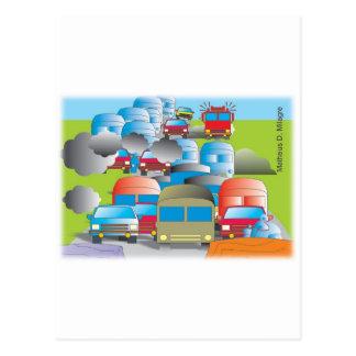 congestionamento rua cheia de carros desenho color cartoes postais