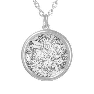 Conglomeração das flores colar banhado a prata