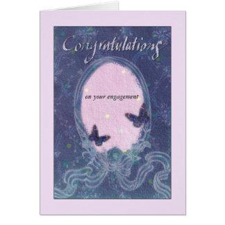 congrats românticos do noivado florais & fita cartão comemorativo