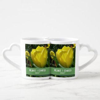 Conjunto De Caneca De Café A tulipa amarela floresce o casamento