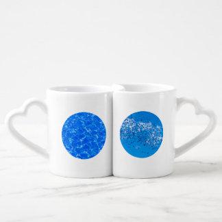 Conjunto De Caneca De Café Água azul e balões azuis