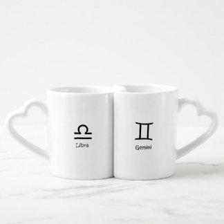 Conjunto De Caneca De Café Astrologia dos zodíacos dos gêmeos das escalas e
