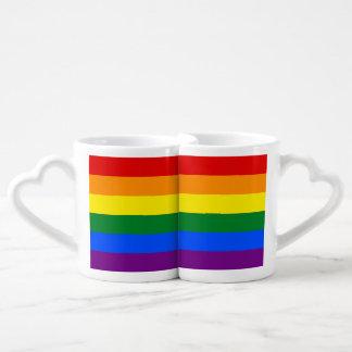 Conjunto De Caneca De Café Bandeira do arco-íris