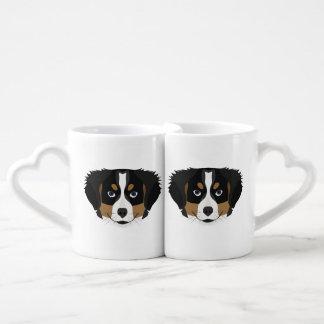 Conjunto De Caneca De Café Cão de montanha de Bernese da ilustração