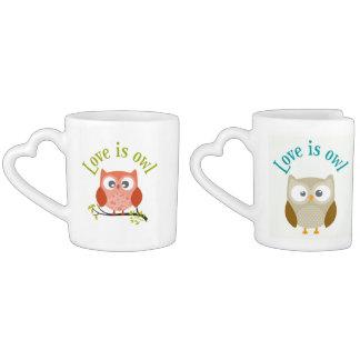 """Conjunto De Caneca De Café Colecção """"Love is owl """""""